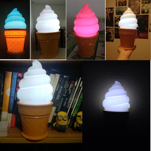 Wholesale New hot Novelty Ice Cream Cone Shaped Night Light Desk Table LED Lamp Kids Children Bedroom Decor Lights Brand New Pack of