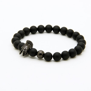 Mens Jewelry 8mm A Grade Matte Agate Stone New Roman Warrior Helmet Micro Paved CZ Beads Spartan Bracelets