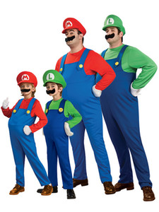 Halloween Cosplay Costumes for Super Mario Luigi Brothers Fancy Dress Up Party Cute Costume For Adult Children CS003