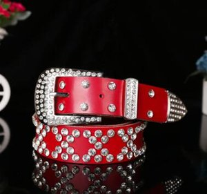 Wholesale 2017 New Fashion Belt female Genuine leather belts women Luxury rhinestone Second layer Cow skin strap woman Wide women s girdle