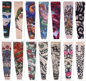 Wholesale Free DHL Popupar Pop Street Style Tattoo Sleeve Cool Rock Cycling Arm Warmers Fingerless Unisex Sleeve Mix Styles L4