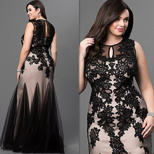 Plus Size Mermaid Prom Dresses Jewel Floor Length Black Appliques Beads Long Formal Evening Party Gowns Special Occasion Dress 2019