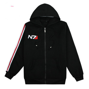 Game Mass Effect 3 N7 top Coat black Hoodies Mens Clothing cosplay Costume unisex cotton coats and jackets