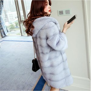Wholesale Women Winter Hooded Fake Fur Coats Plus Size XL New Vintage Artificial Black Faux Fox Fur Coat With Hood Big Size