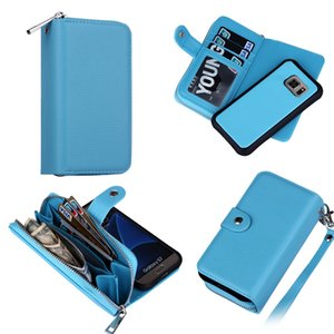 Wholesale Wallet Case For Samsung S7 Edge Magnet Wallet Leather Zipper Gel inner Case Cover with Money Pocket Slots Photo Frame DHL Free SCA156