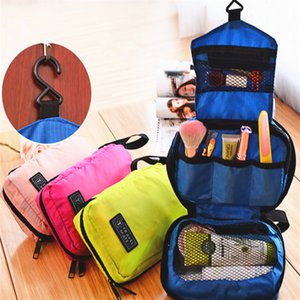 Wholesale New Cosmetic Case Makeup Travel Toiletry Hanging Purse Holder Beauty Portable Bags Wash Make up Bag Organizer With Hook B0622