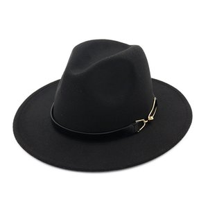 European US men women wool felt fedora hats with Belt Buckle unisex Wide Brim Jazz hat Autumn Winter panama Cap Trilby Chapeau