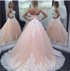 Wholesale 2017 New Cheap A Line Wedding Dresses Pink Colorful White Lace Appliques Tulle Court Train Plus Size Lace Up Back Formal Bridal Gowns