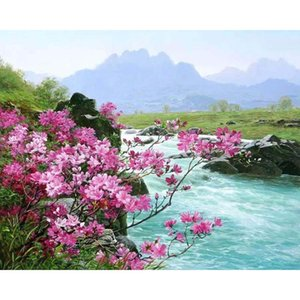 Wholesale Frameless River Landscape DIY Digital Painting By Numbers Kits Hand Painted Oil Painting Unique Gift For Living Room Decoration