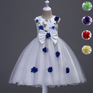 Wholesale Flower Girls Dress Big Bow Sweet Kids Princess Ball Gown Wedding Birthday Prom Evening Party Dress Children Clothes