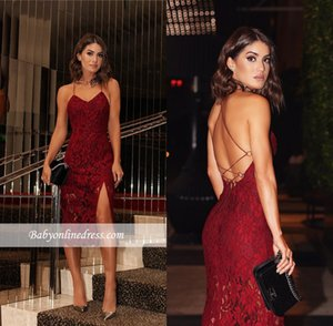 Wholesale 2018 Burgundy Lace Celebrity Prom Dress Backless Two straps Sexy Short Tea Length Evening Red Carpet Gowns