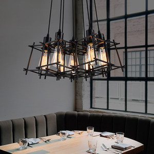 Wholesale pendant lamps resale online - Modern Pendant Lamps American Industrial Retro Hanging Pendant Lights Fixture Black Metal Cafes Lamp Home Indoor Lighting Vintage Droplight