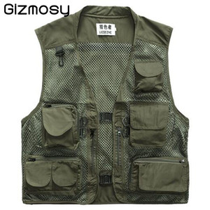 Wholesale Fall Gizmosy Many pockets Outdoor Vest Men Photography Cameraman Casual Vest Hunting Director Reporter Vest Plus Size BN107BN