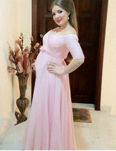 New Elegant Long Pink Empire Pregnant Evening Dresses Off Shoulder Half Sleeve Bow Pleated Chiffon Maternity Party Gowns Custom Made on Sale