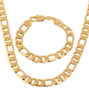 Wholesale 24k yellow gold filled set resale online - Jewelry Set k Flat Smooth Solid Yellow Gold Filled Mens Necklace Bracelet Set