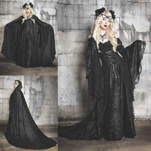 Wholesale Halloween Costumes Fancy Prom Dress Off Shoulder Vampires Devils Cosplay Costume Long Sleeve Custom Made Victorian Ball Gown