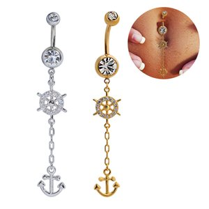 Wholesale Belly Rings Anchors Dangle Belly Button Rings Body Piercing Gold Silver Sexy Navel Rings Stainless Steel Wedding Belly Bars Body Jewelry