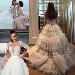 Wholesale 2019 Luxury Lace Tulle Ball Gown Church Long Sleeve Wedding Dresses Arabic Dubai Tiered Cake Cathedral Train Zuhair Murad Bridal Gowns