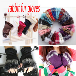 Fashion winter warm girl leather rabbit hand warm winter winter fingerless gloves W017