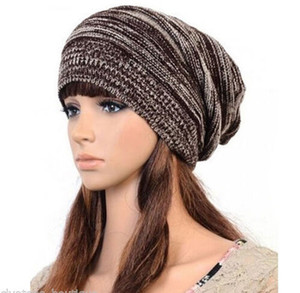 Wholesale 5 Colors Mens Ladies Knitted Woolly Winter Oversized Slouch Beanie Hat Cap Unisex