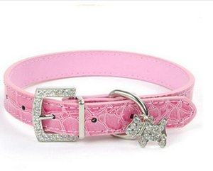 ingrosso piccole cinghie di cuoio fibbia-Ciondolo di cristallo Pet Dog Collar Puppy Cat Pet Buckle Cani Leads Neck Strap Cuoio Cuoio Animale Pet Accessori Per Cani di piccola taglia G985