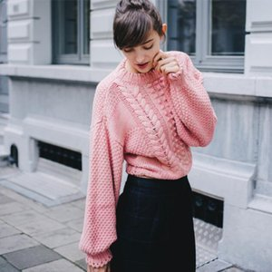 Wholesale Womens Fashion Loose Pink Knit Pattern Sweaters For Female Fall Winter New Casual Pullovers Knitwear Tops Knitted Outerwear