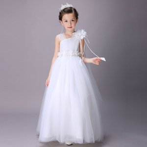 Wholesale Super Cheap Elegant Girl Wedding Bridesmaid Dresses Summer White Long Tulle Evening Party Princess Costume Lace Teenage Flower Girls Clothes