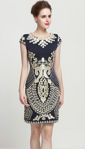 Vintage Embroidery Women Sheath Dress Round Neck Mini Party Dresses 0816148 on Sale