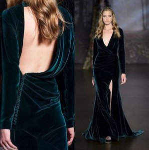 2019 Elie Saab Dark Green Velvet Split Evening Dresses So Hot Deep V-neck Backless Long Sleeve Sheath Occasion Formal Party Dress on Sale