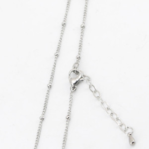 Wholesale 10pcs Silver stainless steel welding jumpring ball station chain necklace for living glass locket glass lockets Diffuser oil Locket