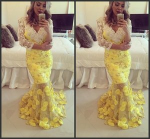 Wholesale Golden Beadings Evening With Long Sleeves Appliques Yellow Formal Dress Deep V Neck Mermaid Style Prom Dresses Red Carpet Dresses