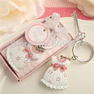 Wholesale Baby Shower Favors and Gift Cute Baby Girl Dress Design Pink Key Chain Infant Baptism Souvenir Gift