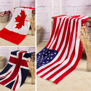 Wholesale 100% cotton beach towel drying washcloth swimwear shower towels USA UK Canada flag dollar design bath towel free shipping