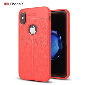 Wholesale For iPhone X Litchi Leather Pattern Soft TPU Case Ultra thin Slim Shockproof Anit fingerprint Protection Back Cover For iPhone Plus