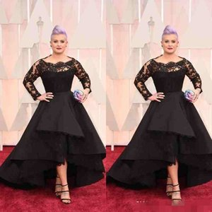 2019 Plus Size Long Formal Dresses Oscar Kelly Osbourne Celebrity Black Lace High Low Red Carpet Sheer Evening Dresses Ruffles Party Gowns on Sale