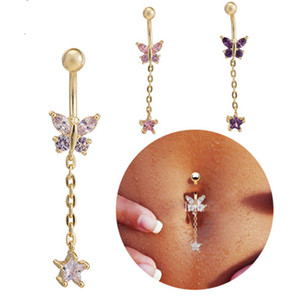 18K Yellow Gold Plated Body Piercing Belly Button Ring Wholesale Cubic Zirconia Dangle Charming Women Navel Jewelry Barbell