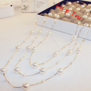 Wholesale Multilayer Pearl Necklace Korean Brand Designer Long Neckalce for Women Sweater Jewelry