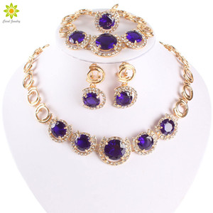 New Design Gold Plated Jewelry Blue Zircon Necklace Bracelet Earrings Ring Jewelry Sets Women Dinner Party Jewelry Set