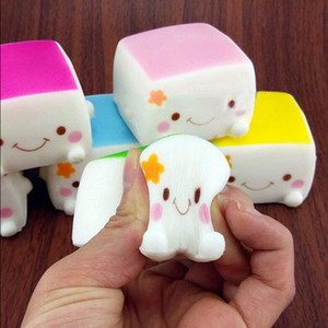 Wholesale Kawaii Jumbo Toast Squishy Hand Pillow Bread Scent Toys Colorful Soft Chinese Tofu Adorable Expression Smile Face Fun Toys
