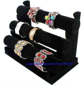 Hot Sales Wholesale Price Jewelry Display Rack Black Velvet Bracelet Bangle Watch Display Holder Three-Tier T Bar