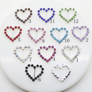 100pcs 20x21mm Heart Wedding Invitation Rhinestone Buckles DIY Decor Accessory 10mm Bar