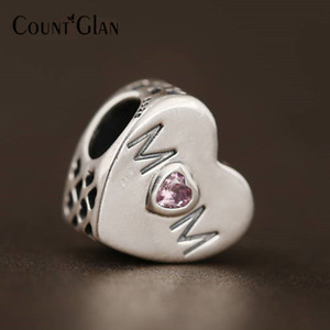 Mother Heart Beads Fit Pandora Charms Bracelets Sterling Silver 925 Original Pink CZ Mom Love Heart Beads For Jewelry Making Diy
