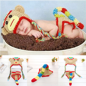 Wholesale monkey baby resale online - Newborn Baby Photography Props Boy and Girl Crochet Outfit Infant Boys Coming Home Photo Doll Accessories Monkey Suit kids Accessories