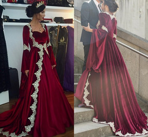Arabic Long Burgundy Velvet Formal Evening Gowns Lace Appliques Trumpet Long Sleeves Caftan Dubai Prom Party Dress on Sale
