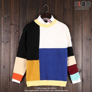 Wholesale Wholesale- 2017 Winter New Fashion Men and Women's Sweater Patchwork Color Mosaic Personality All-match Irregular Colorful Hedging Sweater
