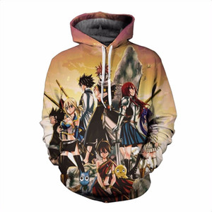 Wholesale New Anime D Hoodies Fairy Tail Characters Prints Hooded Sweatshirts Men Women Long Sleeve Outerwear Sweatshirt Pullovers