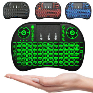 Wholesale Mini i8 Wireless Keyboard colour backlit GHz English Russian Remote Control Touchpad For Android TV Box Tablet PC Smart TV