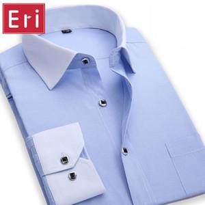 Wholesale- Spring New Men Striped Shirts French Cuff Long Sleeve Man Shirt Slim Fit Casual Fashion Dress S-4XL Men's Shirts Social X076