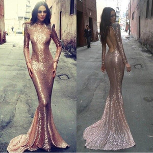 Wholesale long nude sequin open back gown resale online - Open Back Long Prom Gowns vestidos de noiva Sleeves Jewel Neck Shiny Sequin Evening Dresses