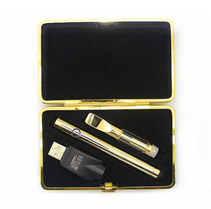 Wholesale gold e cig atomizer for sale - Group buy free vape pen starter kit a3 atomizer Electronic cigarette e cig kit battery gold clip case E cigarette DHL free